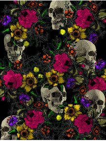 skull-and-flowers
