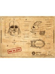 quadro-darth-vader-helmet-project-old-paper--star-wars