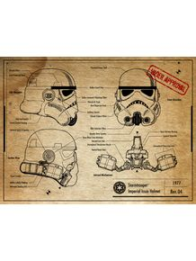 quadro-stormtrooper-helmet-project-old-paper--star-wars