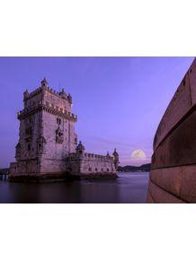 quadro-torre-de-belem-rio-tejo-e-lua-cheia-em-portugal-ao-por-do-sol