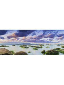 quadro-barcos-nuvens-mar