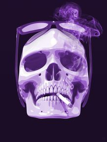 quadro-cigar-smoke-skull-purple