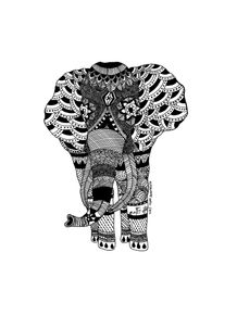 quadro-elefante--black-zentangle