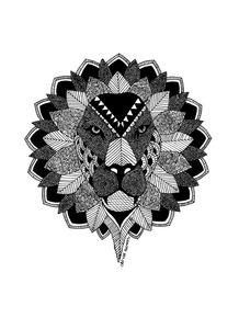 quadro-leao--black-zentangle