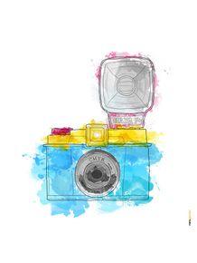 quadro-camera-diana-aquarela
