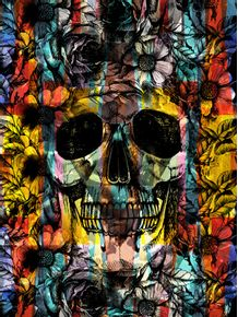 quadro-skull-colorful-flowers