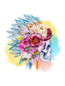 quadro-roses-and-skull