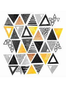 quadro-triangle-abstract--black-and-yellow