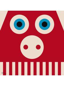 quadro-bichoque-porco-vermelho