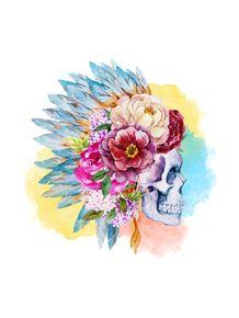 quadro-roses-and-skull-quadrado