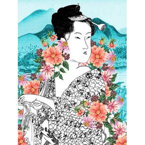 quadro-geisha-flor