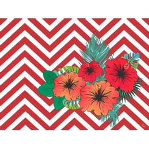 quadro-chevron-floral--hibisco