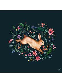 quadro-coelho-na-floresta