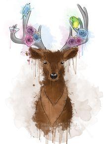quadro-my-deer-flowers