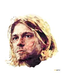 quadro-kurt-cobain-low-poly-nirvana
