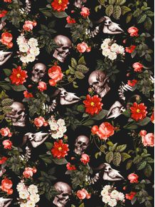quadro-floral-and-skull-pattern