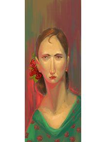 quadro-moca-com-flores-vermelhas
