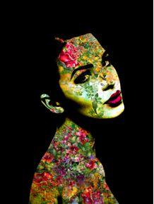 quadro-girl-flowers-black