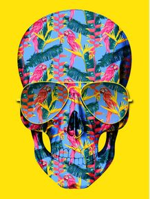 quadro-skull-pink-parrots