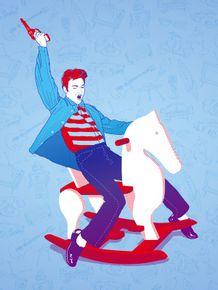 quadro-elvis-cavalinho-azul
