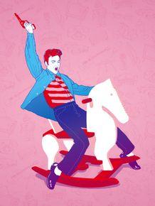 quadro-elvis-cavalinho-rosa