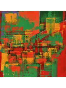 quadro-abstracao-em-vermelho-verde-e-amarelo