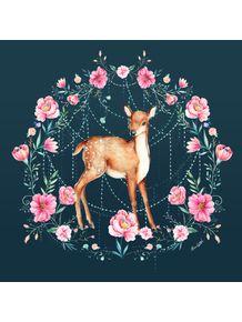 quadro-cervo-entre-flores