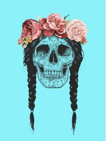 quadro-skull-with-floral-crown-pop