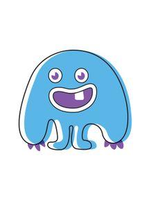 quadro-monstrinho-azul-infantil