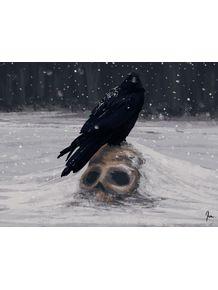 quadro-o-corvo-na-neve