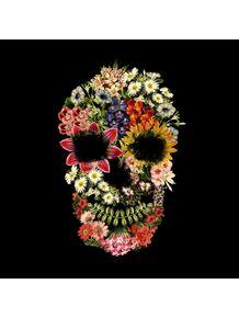quadro-floral-skull-vintage-black