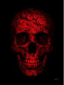 quadro-skull-roses-and-black