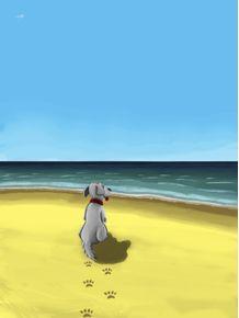 quadro-cachorro-na-praia