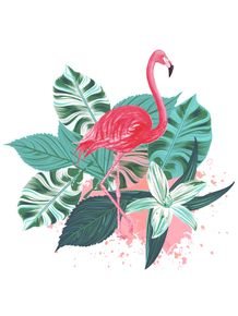 quadro-flamingo-plants