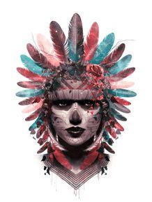 quadro-inah--india-e-caveira-mexicana