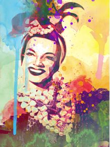 quadro-carmem-miranda-aquarela
