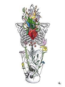quadro-caveira-entre-flores