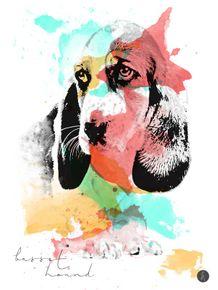 quadro-abstract-basset-hound
