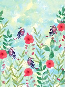 quadro-watercolor-flowers-and-butterfly