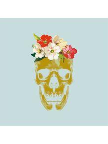 quadro-skull-floral-blu