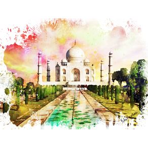 TAJ MAHAL AO POR DO SOL - WATERCOLOR